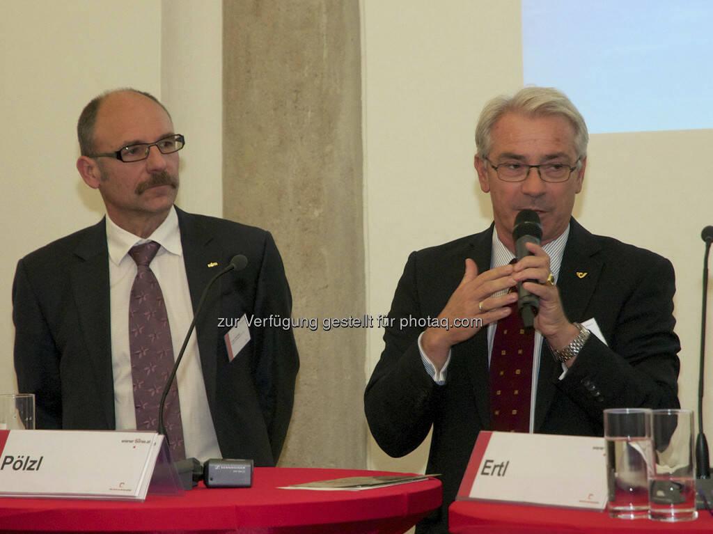 Franz Gschiegl (beide ESPA), Georg Pölzl (Post AG), © Wiener Börse, Claus Beischlager (15.12.2012)