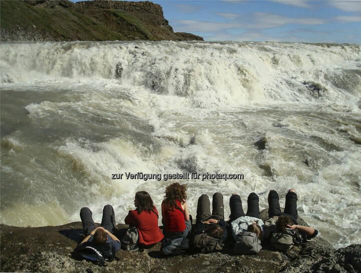 Gulfoss, Wasserfall, Touristen  -  Island