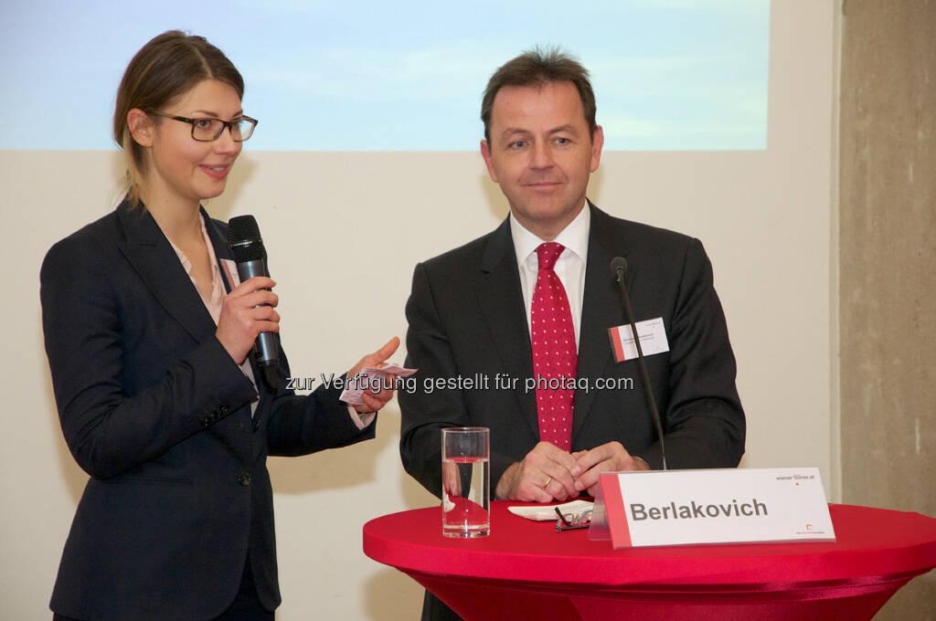 Kora C. Krause (CDP), Nikolaus Berlakovich (Bundesminister), © Wiener Börse, Claus Beischlager (15.12.2012)