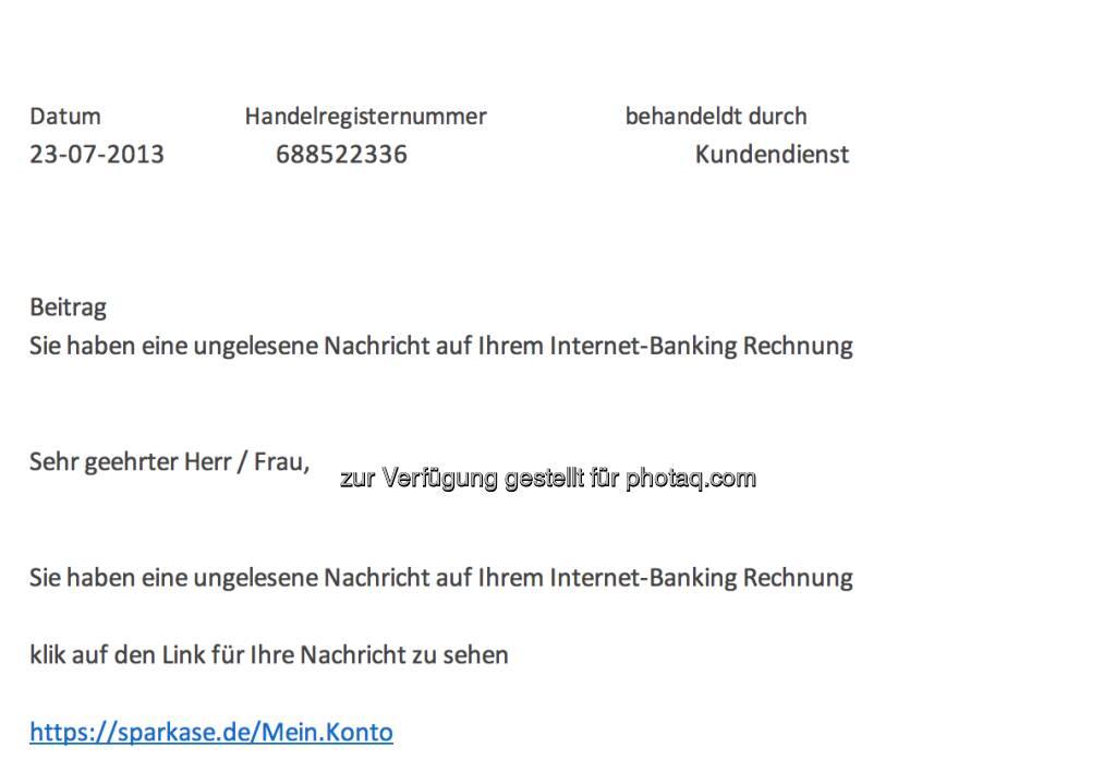 Sparkase spammt, Sparkassen als Spam-Opfer (23.07.2013)