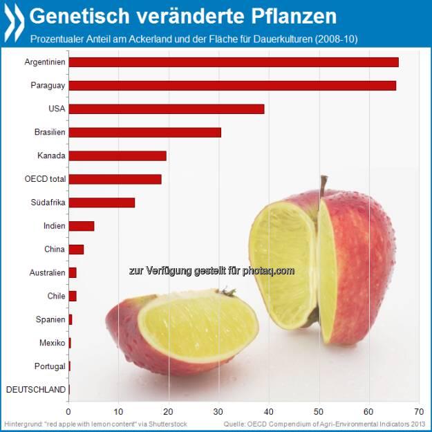 Gute Gene? Auf 18 Prozent aller Ackerflächen in der OECD wachsen genetisch modifizierte Pflanzen - der Löwenanteil davon in den USA. Noch verbreiteter sind GMOs nur in Südamerika: Argentinien und Paraguay kultivieren mit ihnen zwei Drittel ihrer Anbauflächen.   Mehr unter http://bit.ly/19wJNJ8 (OECD Compendium of Agri-environmental Indicators, S.64f.), © OECD (31.07.2013)