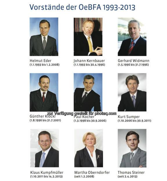 20 Jahre Österreichische Bundesfinanzierungsagentur: Alle Vorstände der OeBFA 1993-2013: Helmut Eder (1.1.1993 bis 1.2.2008), Johann Kernbauer (1.1.1993 bis 30.4.1996), Gerhard Widmann (1.5.1996 bis 31.7.1996),  Günther Klöckl (1.8.1996 bis 31.7.2001), Paul Kocher (1.3.1998 bis 30.9.2006), Kurt Sumper (1.10.2006 bis 30.9.2011), Klaus Kumpfmüller (1.10.2011 bis 14.2.2013), Martha Oberndorfer (seit 1.2.2008), Thomas Steiner (seit 2.4.2013), mehr unter http://www.oebfa.at/de/osn/DownloadCenter/Die%20OeBFA/OeBFA_Geschichte_web.pdf, © OeBFA (01.08.2013)