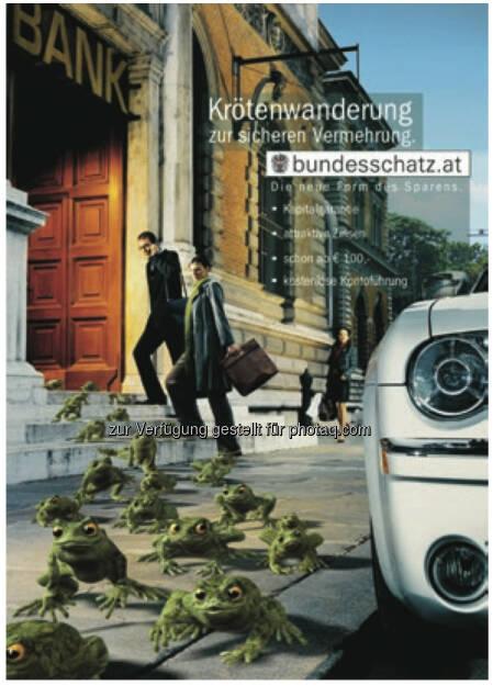 20 Jahre Österreichische Bundesfinanzierungsagentur: Krötenwanderung, Angebot der Bundesschätze ausgeweitet, mehr unter http://www.oebfa.at/de/osn/DownloadCenter/Die%20OeBFA/OeBFA_Geschichte_web.pdf, © OeBFA (01.08.2013)