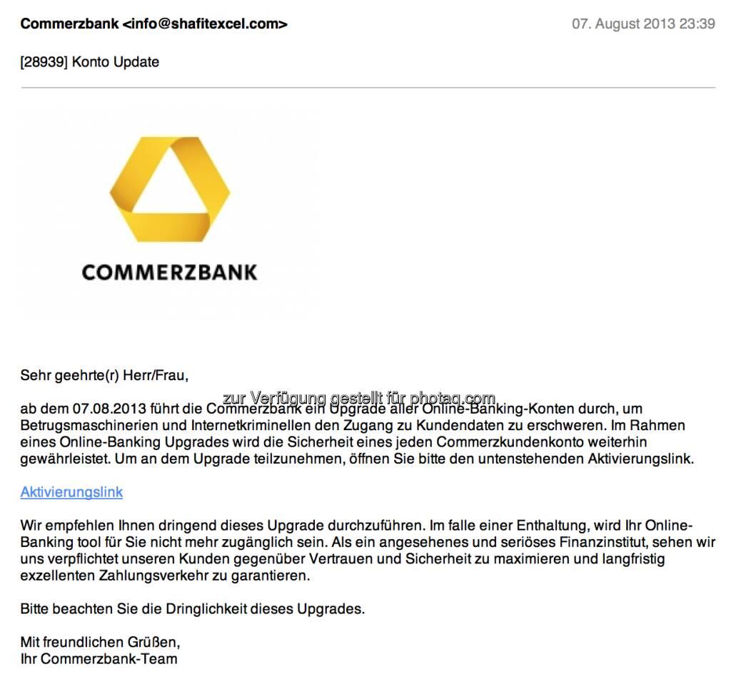 Commerzbank als Spam-Opfer mit interessanter Absender-Adresse (08.08.2013)