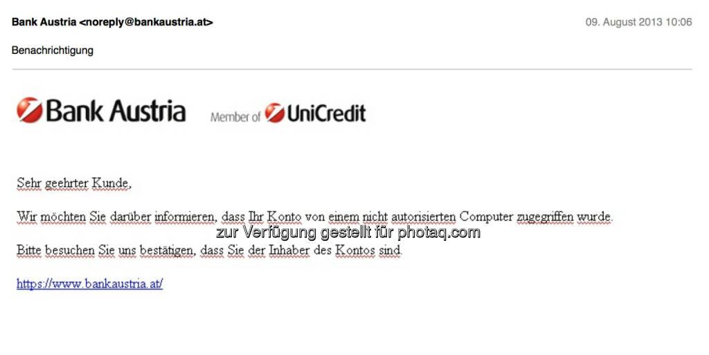 Bank Austria als Spamopfer in fragwürdigem Deutsch (09.08.2013)