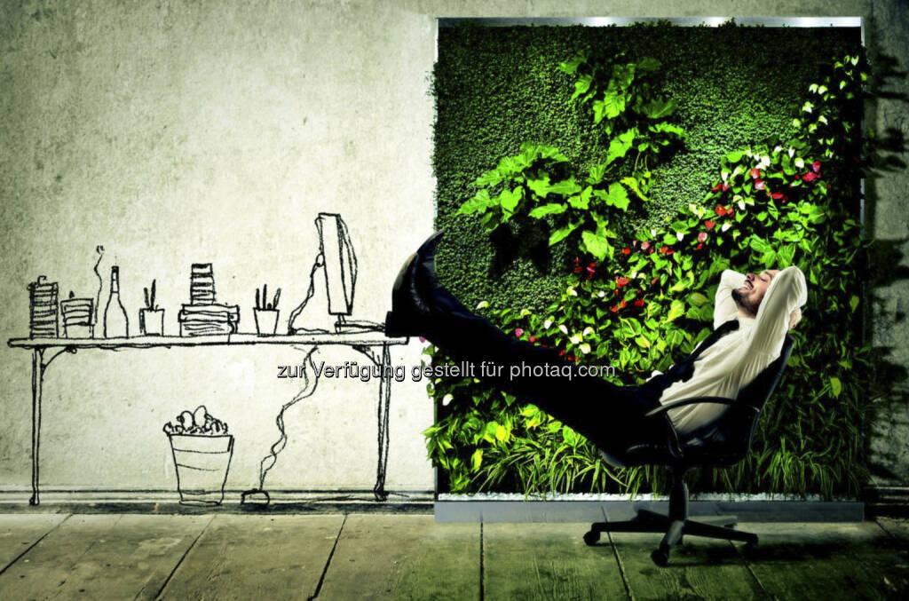 """Relax: Eine Florawall ist eine mit lebenden Pflanzen begrünte Wand für Innenräume. Sie frischt die Optik auf und verbessert dabei auch noch die Gesundheit: in Büros, Einkaufszentren, Hotels, Eingangsbereichen, in Meetingräumen, Arztpraxen, Verkaufsräumen oder aber auch auf Bühnen, Konferenzen und Veranstaltungen. Der """"vertikalen Garten"""" verursacht so gut wie keine Arbeit, da er sich von selber gießt. Florawalls sind in unterschiedlichen Größen und Arten (fix installiert, flexibel, als Raumteiler etc.) verfügbar. (19.08.2013)"""