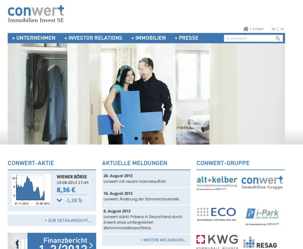 conwert - Relaunch von http://www.conwert.at (20.08.2013)