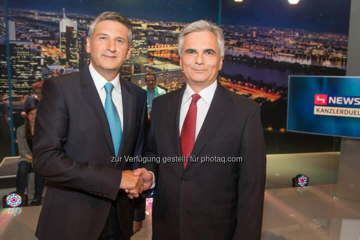 TV-Kanzlerduell auf puls4: Vizekanzler Michael Spindelegger & Bundeskanzler Werner Faymann (Bild: Christian Mikes)