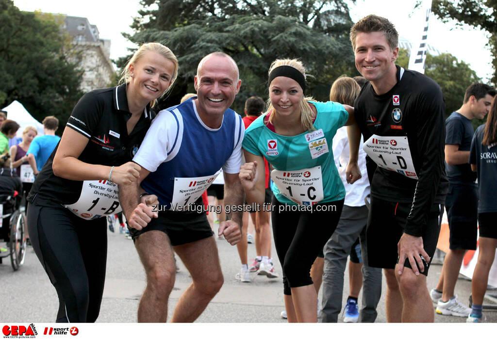 Tanja Chiara Frank (AUT), Sportminister Gerald Klug, Nadine Brandl und Thomas Zajac (AUT). (Foto: GEPA pictures/ Philipp Brem) (03.09.2013)