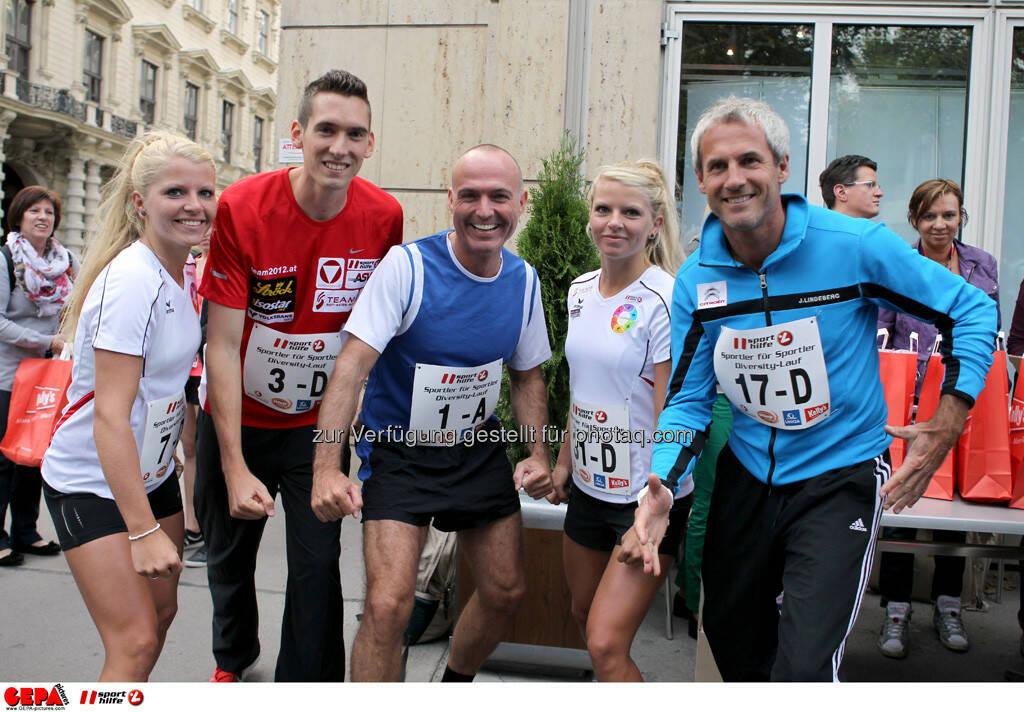 Mirneta Becirovic, Andreas Vojta (AUT), Sportminister Gerald Klug, Mirnesa Becirovic (AUT) und Michael Konsel. (Foto: GEPA pictures/ Philipp Brem) (03.09.2013)