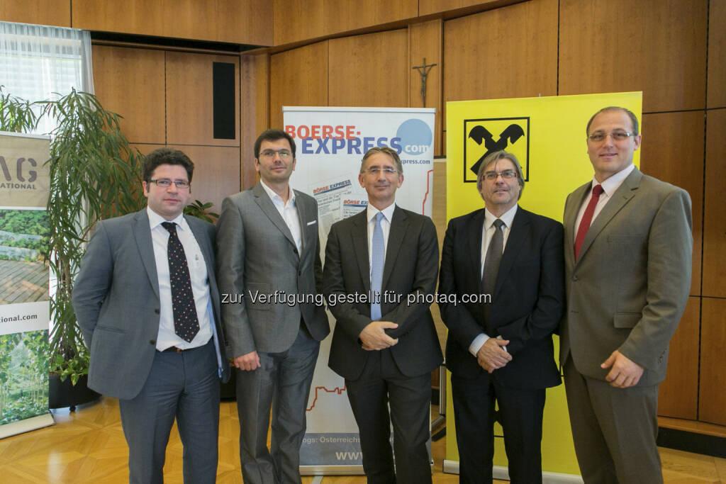 Gerald Wechselauer (Head of IR Amag), Oliver Pokorny (Head of IR Andritz), Wolfgang Plasser (CEO Pankl), Heinz Brandl (Consulting Wertpapiere RLB Steiermark), Siegfried Mader (CEO THI), © Martina Draper für Börse Express (15.12.2012)
