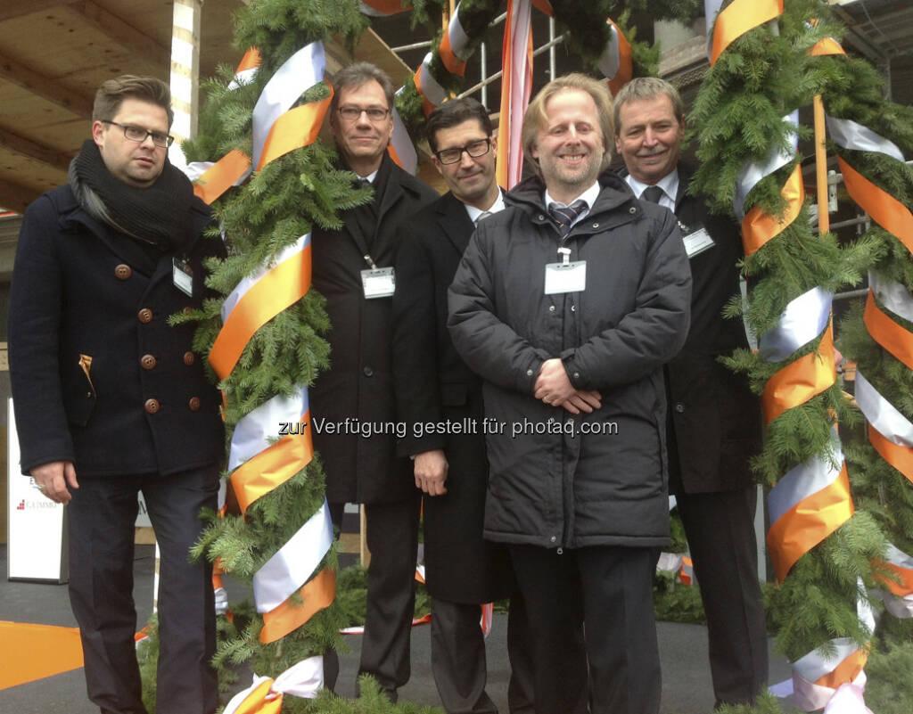 CA Immo, Richtfest für Shopping-Center im Frankfurter Europaviertel: Torsten Wettke (Allianz), Jens-Ulrich Maier (ECE), Jens Hintze (ECE), Olaf Cunitz (Dezernent Planen und Bauen, Frankfurt), Bernhard H. Hansen (CA Immo)  (15.12.2012)