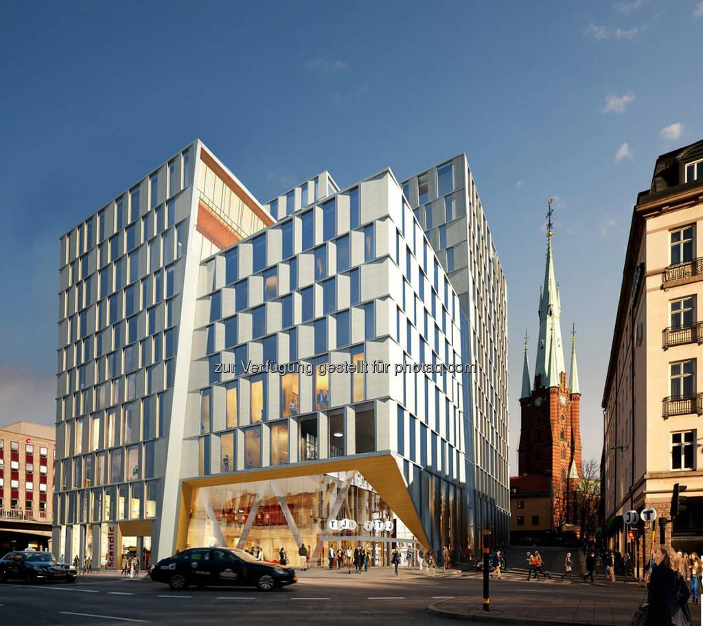 Strabag entwickelt und baut Infrastrukturjuwel Orgelpipan 6 am Stockholmer Citybanan Pendlerbahnhof, 29.000 m2 Multifunktionsgebäude mit Wohnungen, Hotel, Einkaufs- und Servicebereich für die Reisenden am Pendlerbahnhof (Foto: Strabag) (16.09.2013)